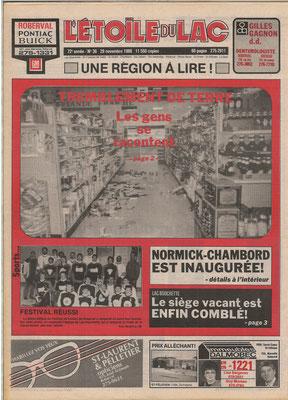 La une du 29 novembre 1988 du journal l'Étoile du Lac, tremblement de terre du 25 novembre 1988.