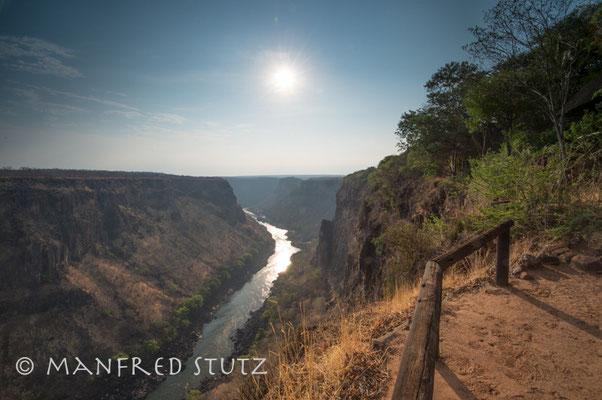 Aussicht in die Schlucht des Sambesi-Flusses in der Gorges-Lodge
