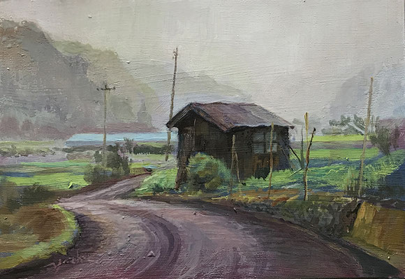 雨の下仁田風景です。妙義山へ行った帰りにこの景色を見つけ水彩で描いたものを油絵にしました。