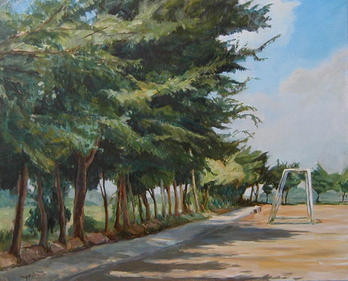 a playground in summer  夏のグランド oil painting  油彩F15号
