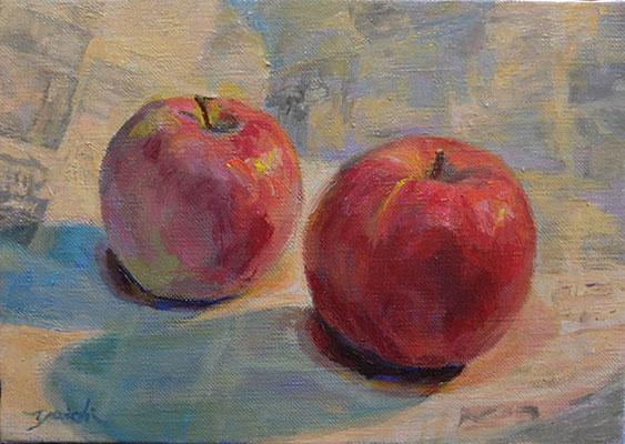 Apples  りんご oil painting   油彩サムホール