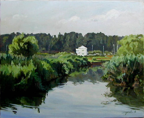 A small white house at the Teganuma pond  手賀沼の白い家 oil painting  油彩F15号