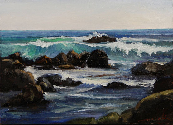 a rocky beach at the Isozaki   ひたちなか磯崎の海 oil painting  油彩F4号