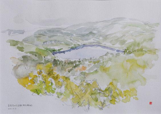 The Shirakoma pond view from the Tatamiishi    高見石から白駒池を眺める watercolor   水彩F6号