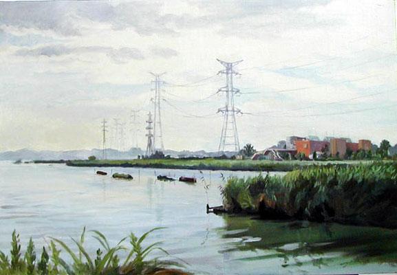 The Teganuma pond in the morning  手賀沼の朝 oil painting 油彩M20号