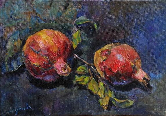 pomegranates  柘榴 oil painting  油彩サムホール