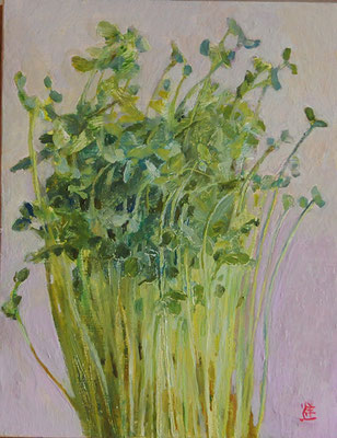 sprouts 豆苗 oil painting 油彩0号