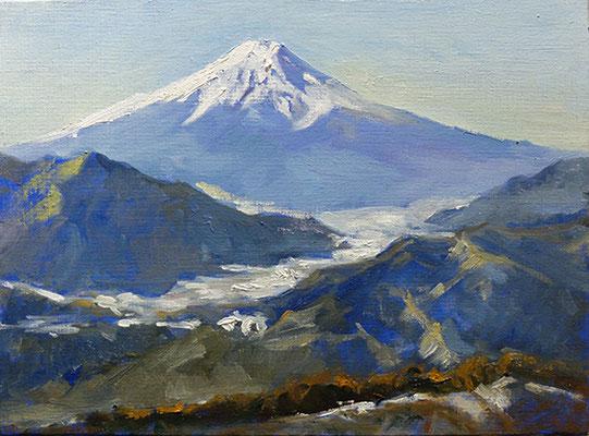 Mt.Fuji in January    1月の富士山 oil painting  油彩F4号 初狩駅から登った高川山山頂さかの富士です。