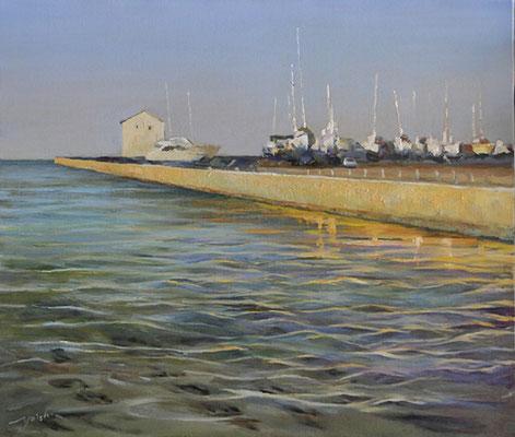 yacht harbor 銚子マリーナ oil painting  油彩F10号