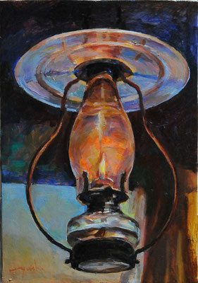 Oil Lamp at a lodge        山のランプ oil painting   油彩サムホール