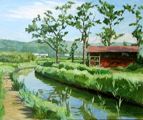 The Aizu bange  in the summer  夏の会津坂下 oil painting  油彩F15号