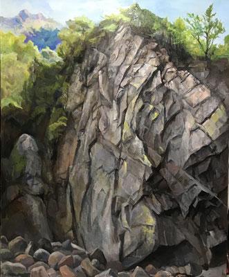 油絵100号です。山梨県の笛吹川上流東沢にある岩壁です。何度も訪れている東沢ですが、いつ見ても迫力ある姿です。