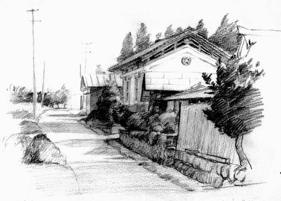 warehouse 鉛筆スケッチ drawing  F3号