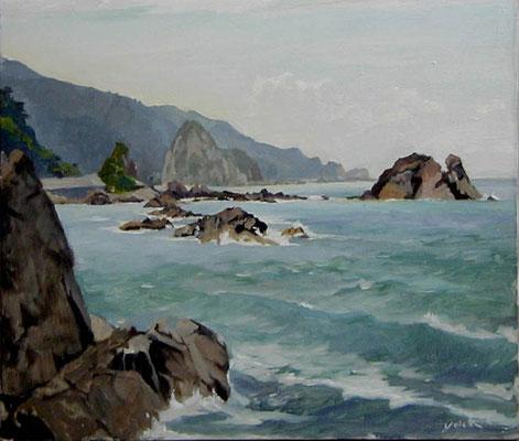 The Sea at the Sasagawanagare   笹川流れ oil painting 油彩F10号  笹川流れは新潟県村上市の景勝地です。