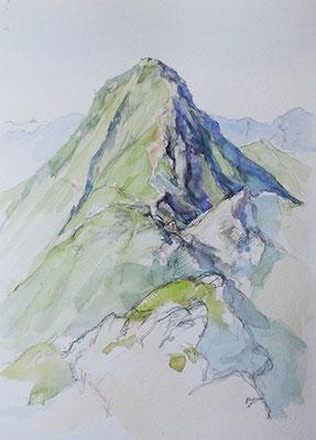 Mt.Akadake   赤岳 watercolor  水彩F4号