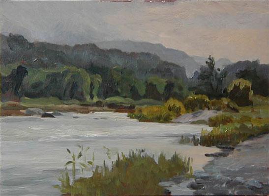The Arakawa river in the evening  荒川夕景 oil painting   油彩F4号