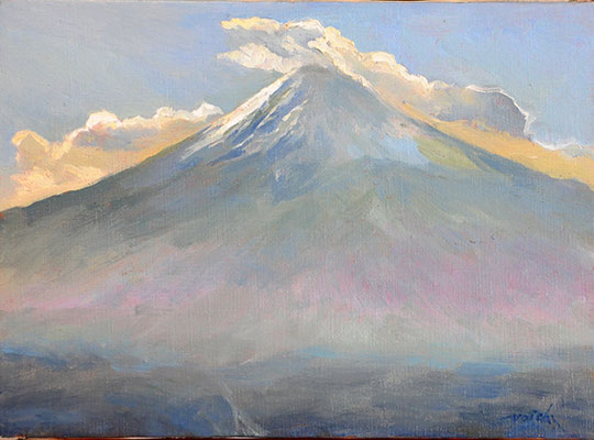 Mt.Fuji     正月の富士山 oil painting   油彩F4号 河口湖畔、かちかち山から描きました。