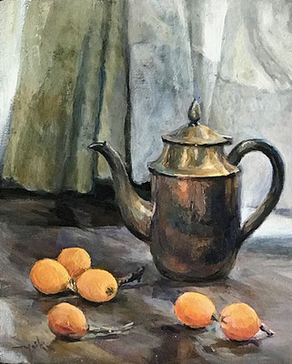 loquats and jug びわと水差し oil painting  油彩F3号