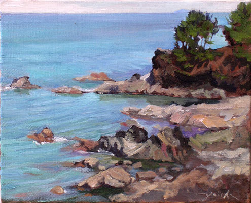 at the Kosagawa rochy beach  小砂川の磯 oil painting  油彩F3号 秋田県象潟近くの海です。