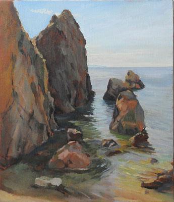 a rocky beach at the Sasagawanagare  笹川流れの磯 oil painting  油彩F10号
