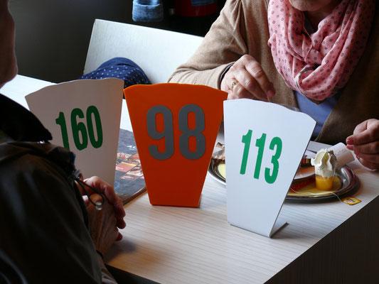 Dankzij deze nummers kreeg ieder zijn juiste bestelling aan tafel geleverd
