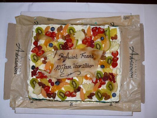 Het aangeboden dessert ter gelegenheid van 10 jaar voorzitterschap