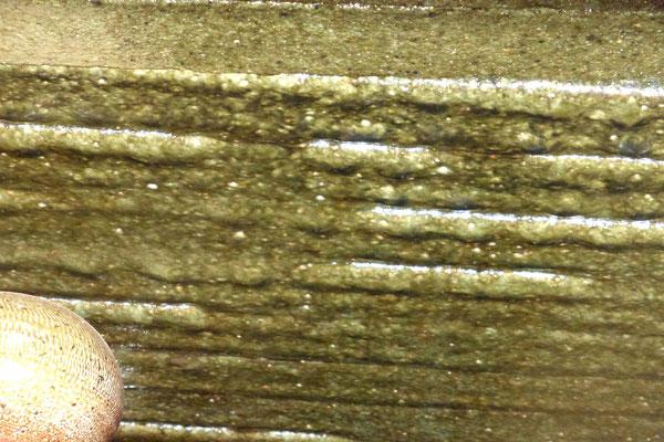 窯内部 自然釉がついた拡大部分。