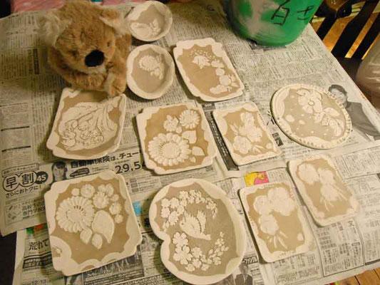 YukiTachibana 立花雪 化粧土 絵付け あおい夢工房        炎と楽園のアート