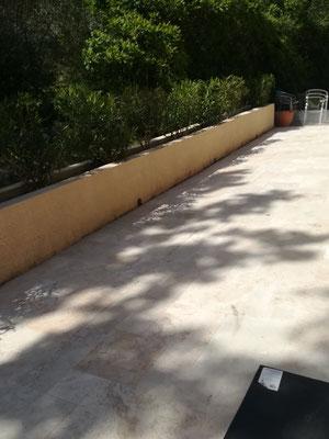 Nettoyage mur  de terrasse à la haute pression
