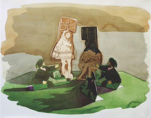 Marta & Slava | Pas de Deux # 2 | Watercolor on paper | 53 x 78 cm | € 2.800,-