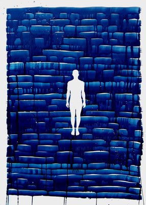 Oriol Texidor | Immersio 179 | Blue print on paper on wooden support | 168 x 120 x 5 cm | € 7.000,-