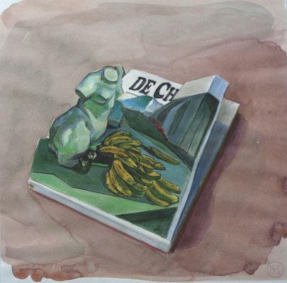 Marta & Slava | Giorgio de Chirico loved bananas, like Maurizio Cattelan | Watercolor and pencil on paper | 40 x 40 cm | € 2.100,-