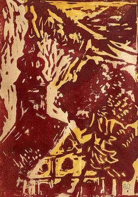 So gesehen von der Kalwanger Künstlerin Annemarie Jobst (Linoldruck)
