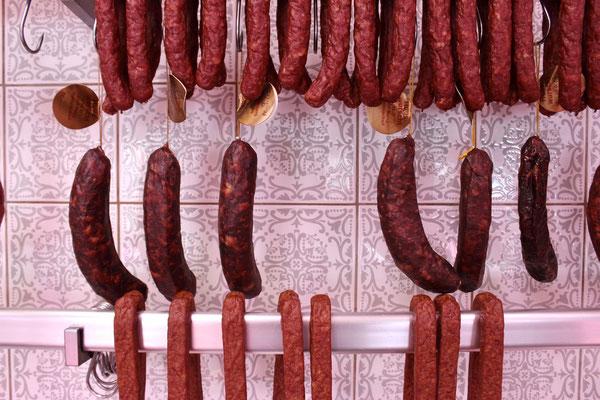 Znüni-Würstli, Hirsch-Huuswurst, Gems-Huuswurst, Landjäger