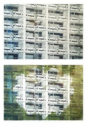 """""""Balkone II"""" / """"Balkone / Nest II"""", 2020. Kaltnadelradierung und Aquarell auf Büttenpapier, 15 x 21 cm"""