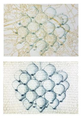 """""""Wein / Nest I"""" / """"Nest im Netz III"""", 2020 Kaltnadelradierung auf Büttenpapier, je 15 x 21 cm"""