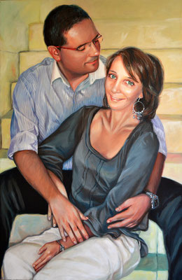 Mara e Francesco, acrilico su tela, cm 100x65, 2006