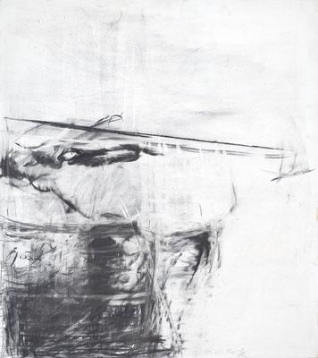 O.T., Kohle auf Holz, 90x80 cm