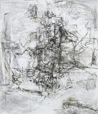 O.T., 150 x130 cm , Kohle auf Holz, 2020