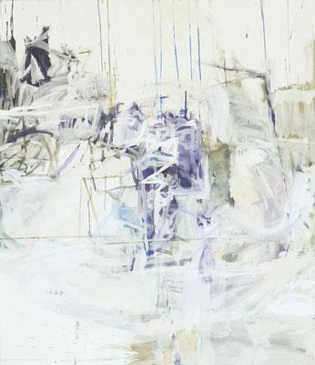 O.T. , 150 x 130 cm, Tempera auf BW-Gewebe, 2019