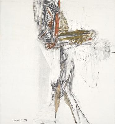 O.T., Tempera, Kohle auf Holz, 100x90 cm