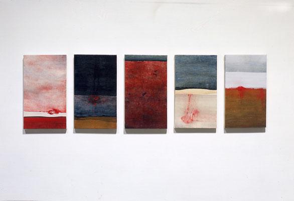 『 枕詞 』 2004    33.3cm×19.0cm(5枚組)  キャンバス 油彩