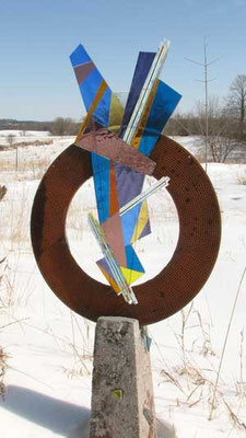 "Strike!,   :Metal, fused glass, cement: 62""h"