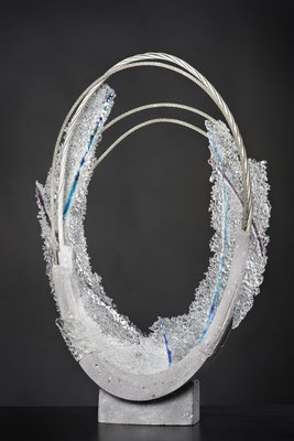 Unnamed, 2014: Fused Glass, Cable and Cement; 76 cm (h)x 51 cm (w) x 10 cm (d)