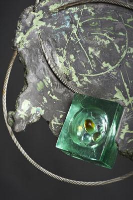 Swirl Hole # 2: Detail:Cast Glass, Metal, Cement : 48 cm (h)x 48 cm (w) x 10 cm (d)
