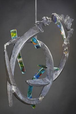 Crazy Love: Fused Glass, Cable, Cement;: 61 cm (h)x 53 cm (w) x 10 cm (d)