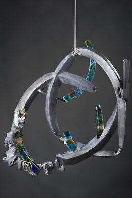 Crazy Love: Fused Glass, Cable, Cement; 61 cm (h)x 53 cm (w) x 10 cm (d)
