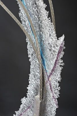 Unnamed, 2014: Detail; Fused Glass, Cable and Cement; 76 cm (h)x 51 cm (w) x 10 cm (d)
