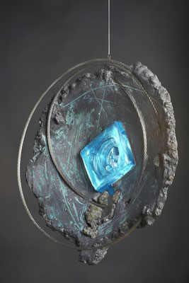 Swirl Hole # 3: Cast Glass, Metal, Cement : 48 cm (h)x 48 cm (w) x 10 cm (d)