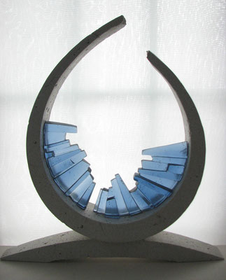 Doorway, 2014: Cast Glass and Cement; 46 cm(h) x 38 cm (w) x 10 cm(d)